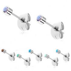 Kolczyki ze stali srebrnego koloru z okrąłym syntetycznym opalem, 3 mm