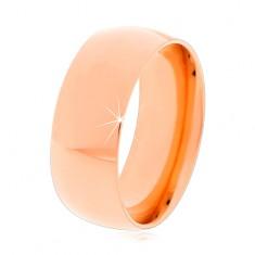 Stalowy pierścionek w miedzianym odcieniu, lśniące zaokrąglone ramiona, 8 mm
