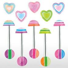 Kolczyk do języka - Multicolor heart