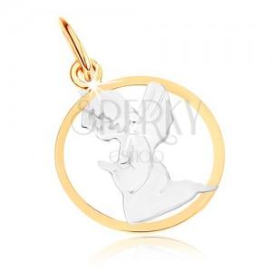 Dwukolorowy złoty wisiorek 585 - grawerowany aniołek, zarys koła