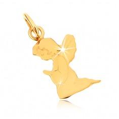Wisiorek z żółtego złota 14K - grawerowany modlący się aniołek, lustrzany połysk