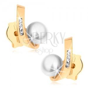Kolczyki wkręty z żółtego złota 14K - okrągła perła, zagięty pas z cyrkoniami