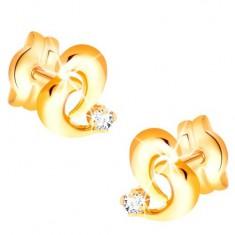 Brylantowe złote kolczyki 585 - kontur nieregularnego serca,  diament bezbarwnego koloru