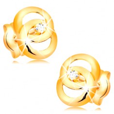 Kolczyki z żółtego14K złota - dwa połączone ze sobą pierścienie, brylatn w środku