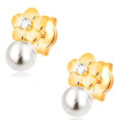 Kolczyki z żółtego 14K złota, lśniący kwiat z bezbarwnym diamentem, biała perła