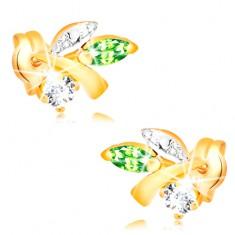 Złote kolczyki 585 - gałązka z liśćmi, zielony szmaragd, bezbarwny diament