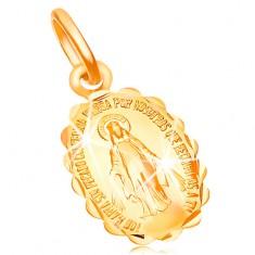 Zawieszka z żółtego złota 14K - dwustronny medalik z Maryją Panną