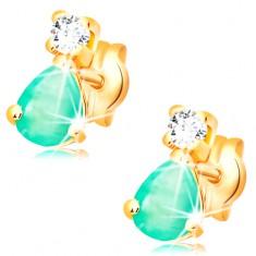 Kolczyki z żółtego 14K złota - łezkowy zielony szmaragd, okrągły bezbarwny diament