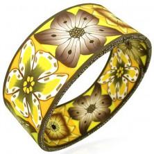 Bransoletka Fimo, gruba, jesienne kwiaty