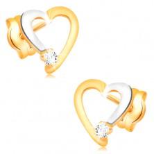 Brylantowe kolczyki z 14K złota - zarys serca z bezbarwnym diamentem
