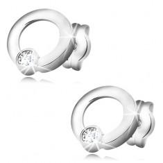 Kolczyki z białego złota 585 - błyszczący bezbarwny diament w lśniącej obręczy