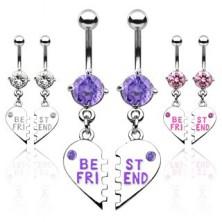 Podwójny piercing do pępka złamane serce BEST FRIEND