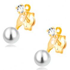 Kolczyki z żółtego 14K złota, bezbarwna cyrkonia i okrągła biała perła, wkręty