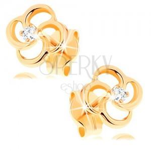Brylantowe kolczyki z żółtego 14K złota - kwiat z bezbarwnym diamentem