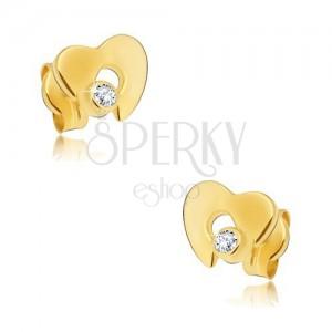 Diamentowe złote kolczyki 585 - błyszczące serce z wycięciem i bezbarwnym brylantem