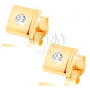 Kolczyki z żółtego 14K złota - błyszczący kwadrat z diamentem bezbarwnego koloru
