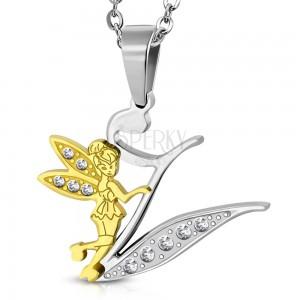 Stalowa zawieszka, litera V ozdobiona bezbarwnymi cyrkoniami, wróżka w kolorze złotym