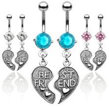Podwójny piercing do pępka - przepołowione serce BEST FRIEND