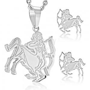 Stalowy zestaw w kolorze srebrnym, kolczyki i zawieszka, znak STRZELEC