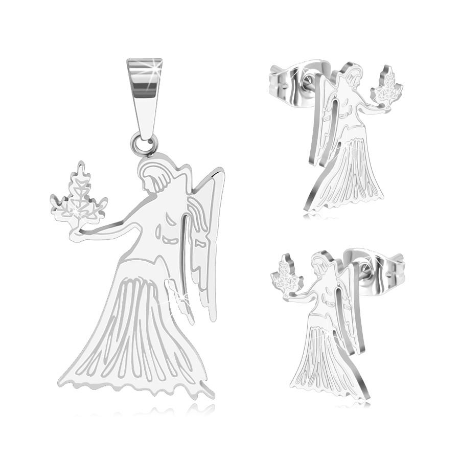 Komplet ze stali chirurgicznej srebrnego koloru, wisiorek i kolczyki, znak zodiaku PANNA