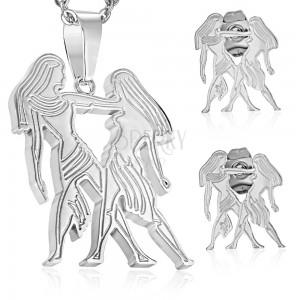Zestaw ze stali chirurgicznej w odcieniu srebra, zawieszka i kolczyki, znak BLIŹNIĘTA