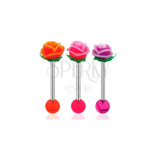 Piercing do języka, sztanga ze stali 316L, akrylowa kulka i UV różyczka