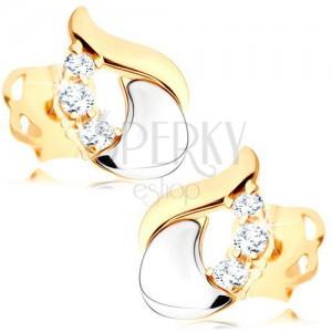 Diamentowe kolczyki - błyszcząca łza z 14K białego i żółtego złota, trzy bezbarwne brylanty