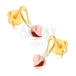 Brylantowe kolczyki - 14K żółte i różowe złoto, serduszko na stopce, diamenty