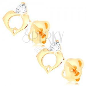Kolczyki z żółtego 14K złota - bezbarwny diament, kontur serca z dwóch delfinów