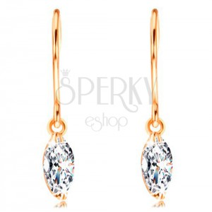 Kolczyki z żółtego 14K złota - lśniące ziarno diamentu w bezbarwnym kolorze