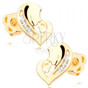 Diamentowe kolczyki z żółtego 14K złota - serce z dwóch twarzy, bezbarwne brylanty