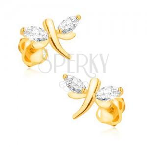 Kolczyki z żółtego 14K złota - lśniące ważki, ziarenkowe diamenty na skrzydłach