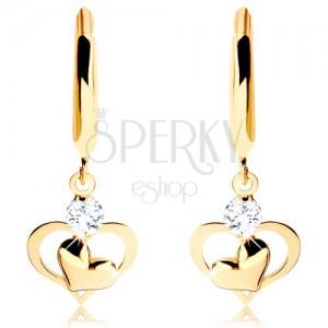 Brylantowe złote kolczyki 585 - lśniący okrąg z wiszącym diamentem i serduszkami