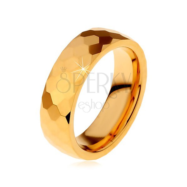 Wolframowa obrączka złotego koloru,  oszlifowane lśniące sześciokąty, 8mm,