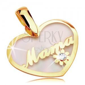 Zawieszka z żółtego 14K złota - perłowe serce z napisem Mama i kwiatem