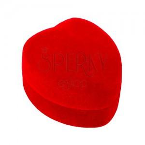 Pudełeczko - serce, na pierścionek lub kolczyki - czerwona aksamitna powierzchnia