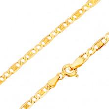 Złoty 14K łańcuszek - owalne ogniwa, puste i z kratką,  450 mm