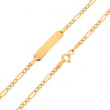 Bransoletka z płytką, złoto 585, wzór Figaro - trzy mniejsze i jedno większe ogniwo, 200 mm