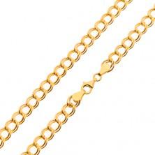 Łańcuszek z żółtego 14K złota - podwójne elipsowe ogniwa, 500 mm