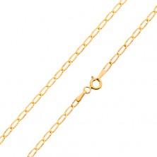 Złoty łańcuszek 585 - cienkie płaskie ogniwa, lśniące promieniste nacięcia, 550 mm