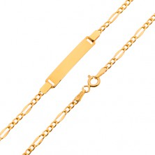 Złota bransoletka z płytką - spłaszczone podłużne ogniwa oraz trzy drobne oczka, 200 mm