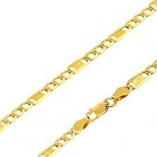 Złoty łańcuszek 585 - trzy owalne ogniwa, ogniwo z kluczem greckim, 500 mm
