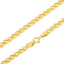 Złoty łańcuszek 585 - błyszczące elipsowe większe i mniejsze ogniwo, 500 mm