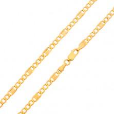 Złoty łańcuszek 585 - trzy owalne ogniwa, ogniwo z kluczem greckim, 550 mm