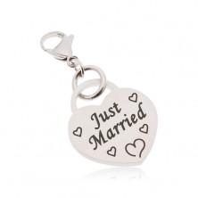 Zawieszka na klucze, stal chirurgiczna, serce z napisem Just Married