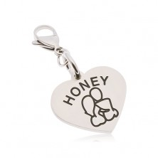 Stalowa zawieszka na klucze, serce z napisem HONEY, zakochana para