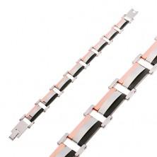 Bransoletka ze stali 316L, trójkolorowe prostokątne części, wypukły środek