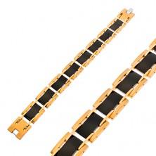 Bransoletka ze stali chirurgicznej, prostokątne ogniwa, czarny i złoty kolor