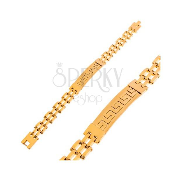 Bransoletka ze stali chirurgicznej złotego koloru, matowy znak z greckim kluczem