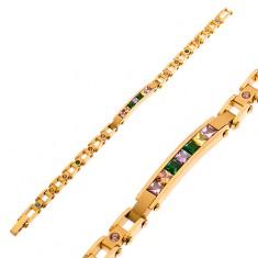 Stalowa bransoletka w kolorze złotym, wąski znak i kolorowe cyrkonie